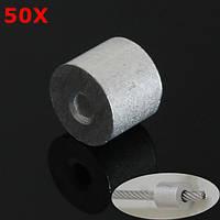 50шт алюминиевый круглый наконечник обжимной Втулки для стоп 1/16 дюймов трос