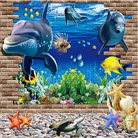 3D синий морской мир Дельфин съемный стикер стены домашний декор обои