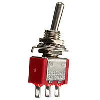 Красный 3-контактный на-на переключающий мини тумблер переменного тока 6A / 125V / 250V 3a