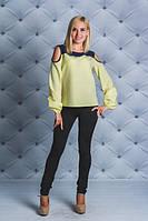 Блузка с открытыми плечами  желтая