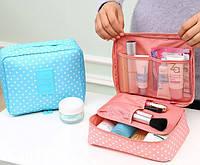 Дорожный органайзер для косметики Travel multi pouch(розовый в горох)