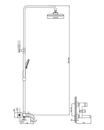 Душевая система (смеситель для ванны, верхний и ручной душ 3 режима, шланг 1,5м) IMPRESE BILA DESNE (T-10155), фото 2