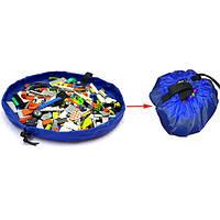 Синий 150см портативные детские игрушки хранения сумка играть коврик игрушка организатор ковер коробка