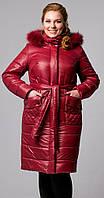 Женская куртка с капюшоном бордовая