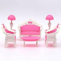 Розовая кукольная мебель гостиная кабинет диван набор