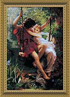 """Набор для вышивки крестиком 481 По мотивам западноевроп. живописи """"Влюбленные на качели"""", 37*55 см"""