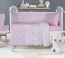 Комплект постельного белья  детский БАЮШКИ розовый (навол. 40*60;прост.на резинке)
