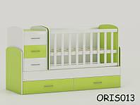 Кроватка-трансформер для новорожденного Maya Oris-mebel Бело-зеленый ORIS013
