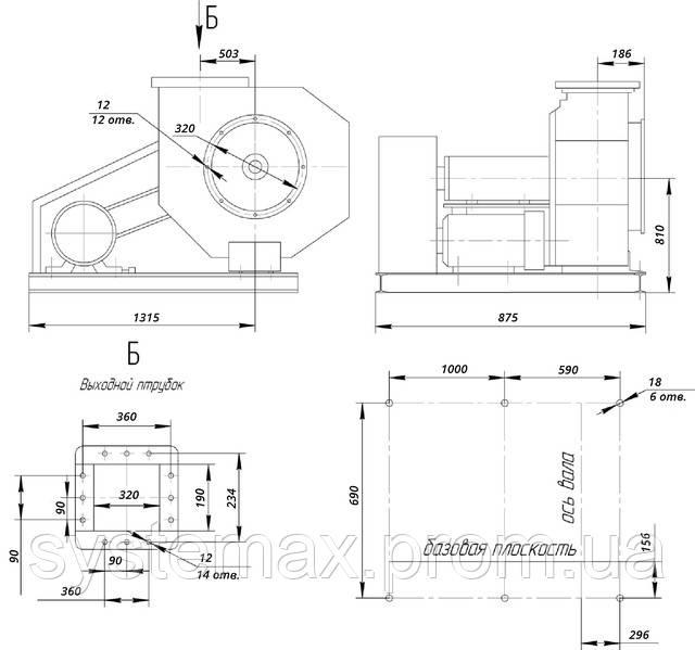 Размеры ВЦ 6-28 №8 исполнение 5