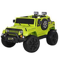 Детский электромобиль Джип Jeep M 3445 EBLR-5 зеленый, мягкие колеса и кожаное сиденье