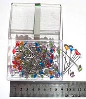 Набор декоративных булавок, 9 х 50 мм., граненые головки, 6 цветов