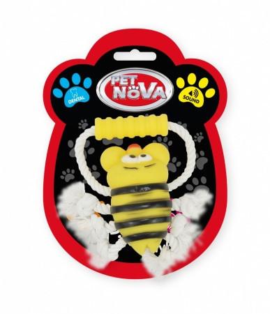 Игрушка для собак Пчела на веревке с ручкой Pet Nova 26 см