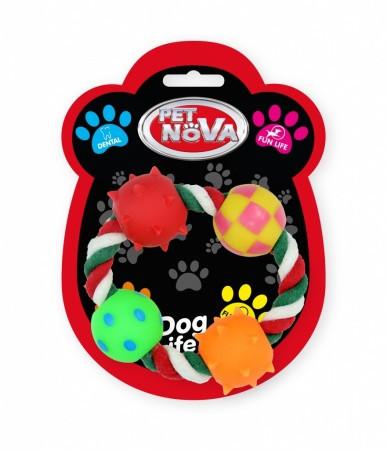 Игрушка для собак Четыре шара на кольцевой веревке Pet Nova 4.5 см