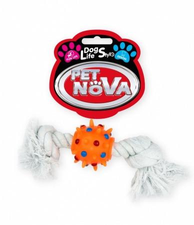 Игрушка для собак Шар оранжевый на веревке Pet Nova 25 см