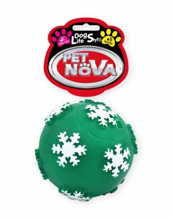 Игрушка для собак Шар с хлопьями из снега Pet Nova 7.5 см