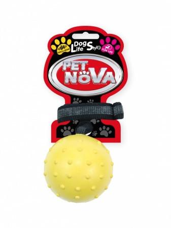 Игрушка для собак Мяч с ремешком Pet Nova 7 см желтый