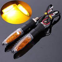 2шт универсальный мотоцикл 3 LED указатель поворота Янтарный свет