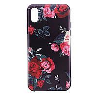 """TPU чехол OMEVE Pictures для Apple iPhone X (5.8"""") / XS (5.8"""") Красные розы (черный фон)"""