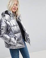 Модные новинки! Зимние куртки серебристый металлик