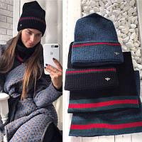 Комплект: женская вязанная шапка и шарф-хомут, Черный/Black