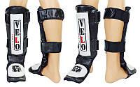 Защита для голени и стопы для единоборств кожаная VELO 7020 (черный)