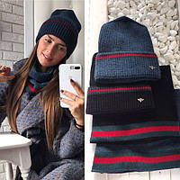 Комплект: женская вязанная шапка и шарф-хомут, Темно-синий/Dark Blue