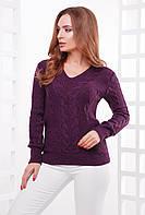 Женская вязаная кофта с v-образным вырезом фиолетовая