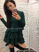 Стильное женское платье с рюшами на юбке и длинным рукавом