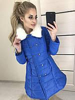 Куртка осень-зима с меховым воротником БЕЛАЯ