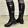 Сапоги женские   на невысоком каблуке, натуральная кожа флотар., фото 4