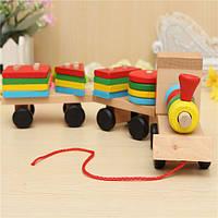Дерево головоломки поезд игрушки геометрические блоки образование подарок