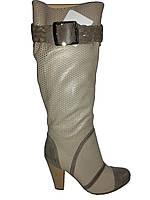 Сапоги женские кожаные на каблуке с перфорацией Vizzavi 8503