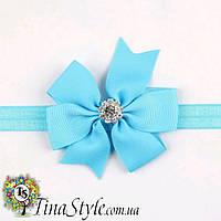 Повязка на голову Цветок голубой повязочка  для детей девочек младенца новорожденной лента пов'язочка голубая