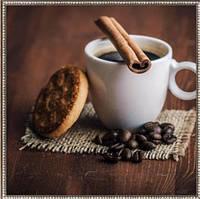Алмазная вышивка 30х30 см, кофе с печеньем
