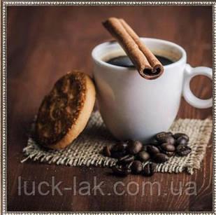 Алмазная вышивка кофе с печеньем 30х30 см, частичная выкладка