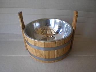 Шайка дубовая для бани с нержавеющей вставкой 3.5 литров.