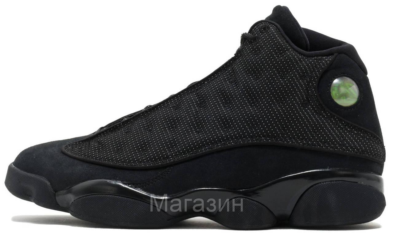 """Баскетбольные кроссовки Air Jordan 13 Retro """"Black Cat"""" (Найк Аир Джордан 13 Ретро) в стиле черные"""
