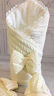 "Зимний вязанный конверт-одеяло  ""Дуэт"" (подклад махра) молочный, фото 1"