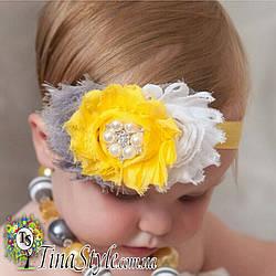 Повязка на голову Цветы желтая белая повязочка  для детей девочек младенца новорожденной лента пов'язочка