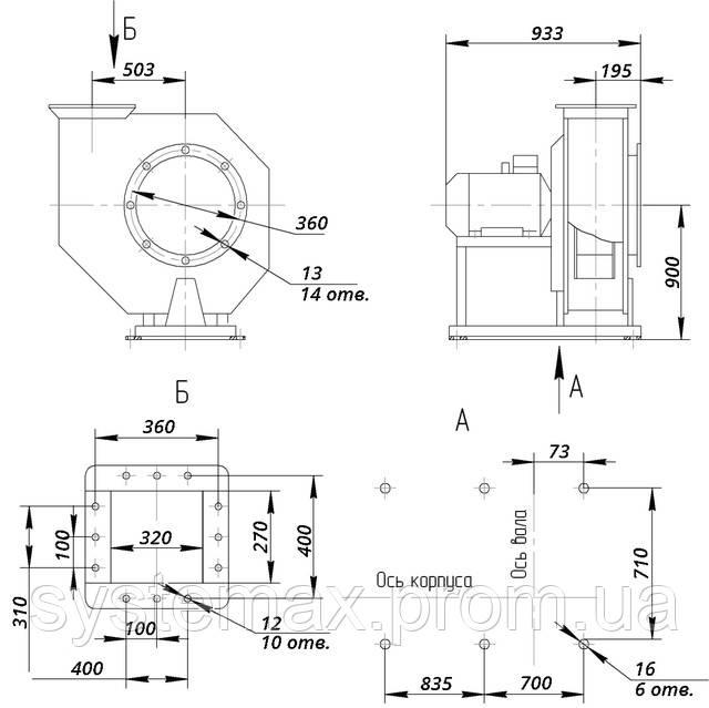 Размеры ВЦ 6-28 №9 исполнение 1