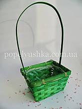 Корзина прямокутний бамбуковий зелений