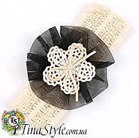 Повязка на голову Цветок с бантом повязочка  для детей девочек младенца новорожденной лента пов'язочка