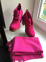 Ботинки женские демисезонные на каблучке яркие малиновые