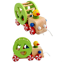 Детские детей утка потянув колесо автомобиля геометрии Танграм Ассамблея тянуть животных образовательные игрушки деревянные интеллиген