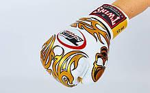 Рукавиці боксерські шкіряні на липучці TWINS FBGV-31G-WH-14, фото 2