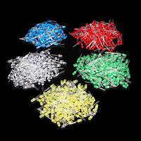 500 шт 5 мм LED диод комплект смешанные цвета красный зеленый желтый синий белый