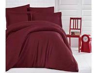 Комплект постельного белья Двуспальный Евро Страйп Сатин 200х220 CLASY Бордо