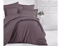 Комплект постельного белья Двуспальный Евро Страйп Сатин 200х220 CLASY Коричневый