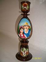 Подсвечник деревянный с ручной росписью большой, фото 1