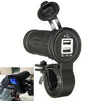 12/24В мотоцикл dusl по USB 2.1 а+1А сигарета зарядное устройство адаптер